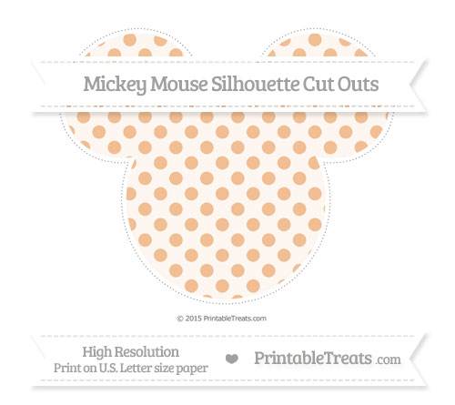 Free Pastel Orange Polka Dot Extra Large Mickey Mouse Silhouette Cut Outs
