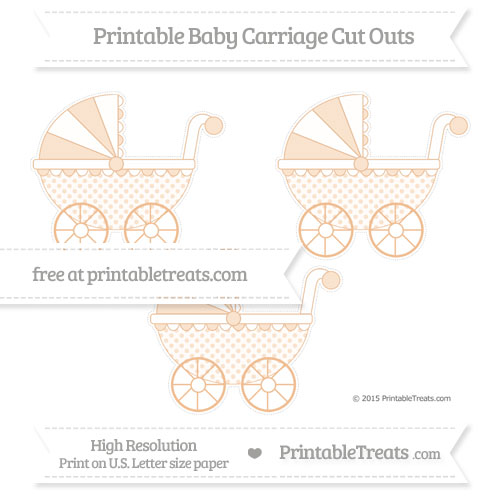 Free Pastel Orange Polka Dot Medium Baby Carriage Cut Outs