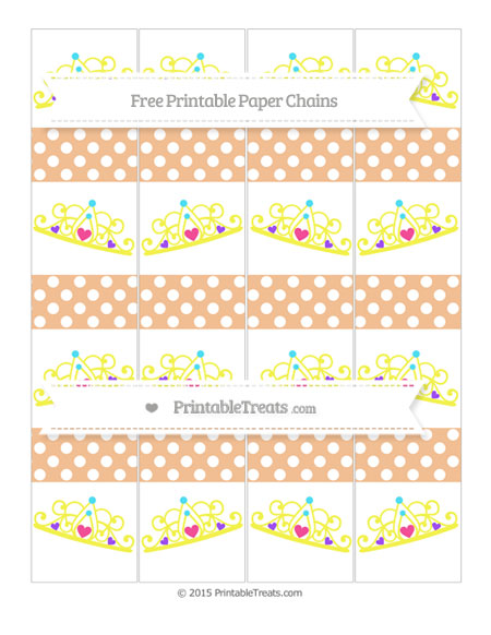 Free Pastel Orange Polka Dot Princess Tiara Paper Chains