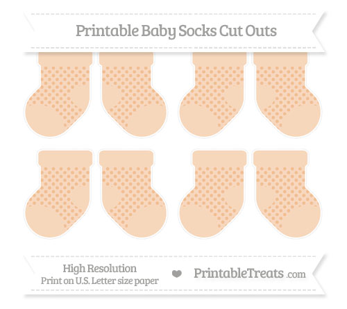 Free Pastel Orange Polka Dot Small Baby Socks Cut Outs