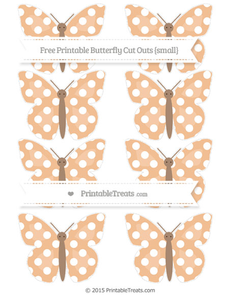 Free Pastel Orange Polka Dot Small Butterfly Cut Outs