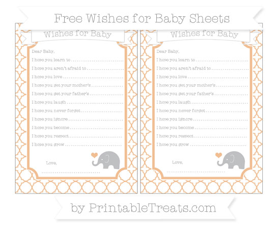 Free Pastel Orange Quatrefoil Pattern Baby Elephant Wishes for Baby Sheets