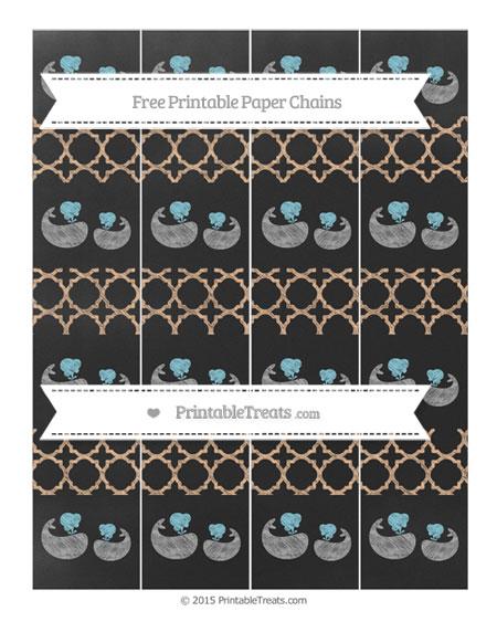 Free Pastel Orange Quatrefoil Pattern Chalk Style Baby Whale Paper Chains