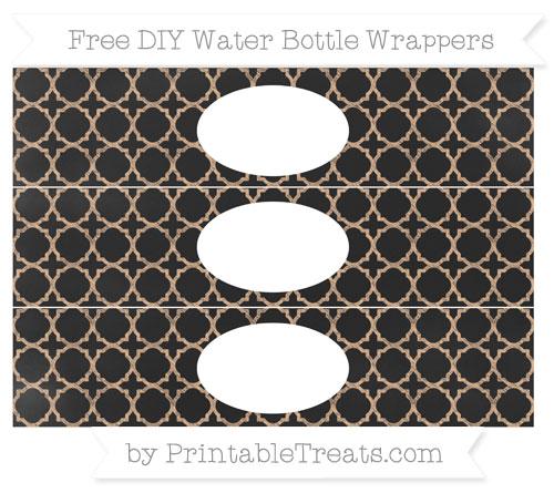 Free Pastel Orange Quatrefoil Pattern Chalk Style DIY Water Bottle Wrappers