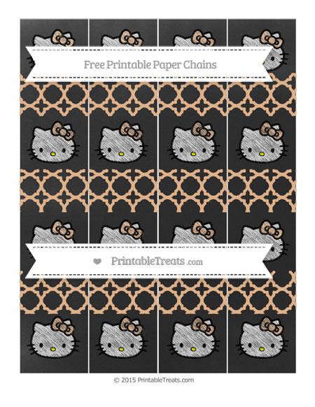 Free Pastel Orange Quatrefoil Pattern Chalk Style Hello Kitty Paper Chains