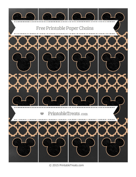 Free Pastel Orange Quatrefoil Pattern Chalk Style Mickey Mouse Paper Chains