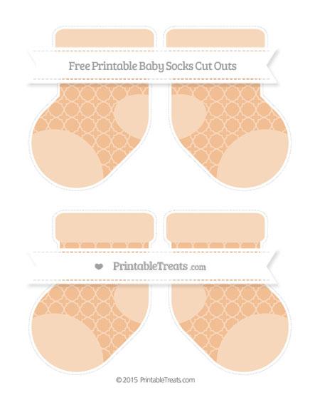 Free Pastel Orange Quatrefoil Pattern Medium Baby Socks Cut Outs