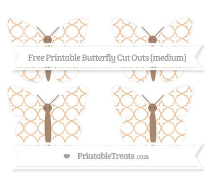 Free Pastel Orange Quatrefoil Pattern Medium Butterfly Cut Outs