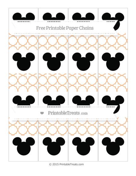 Free Pastel Orange Quatrefoil Pattern Mickey Mouse Paper Chains