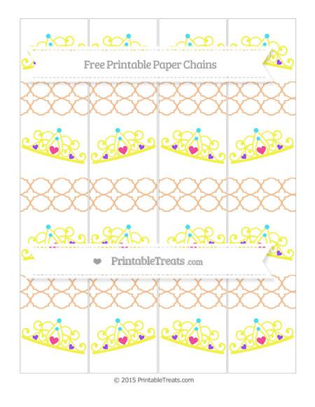 Free Pastel Orange Quatrefoil Pattern Princess Tiara Paper Chains