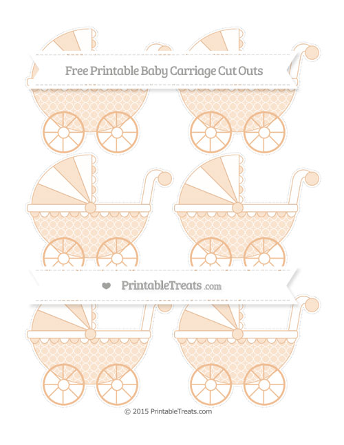 Free Pastel Orange Quatrefoil Pattern Small Baby Carriage Cut Outs