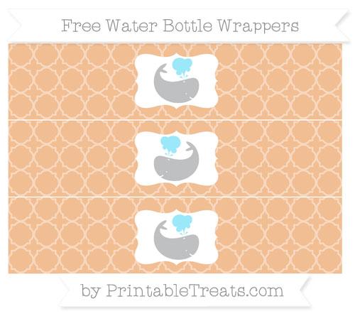 Free Pastel Orange Quatrefoil Pattern Whale Water Bottle Wrappers