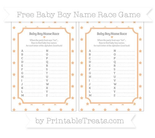 Free Pastel Orange Star Pattern Baby Boy Name Race Game