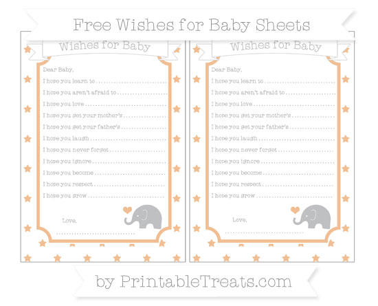Free Pastel Orange Star Pattern Baby Elephant Wishes for Baby Sheets