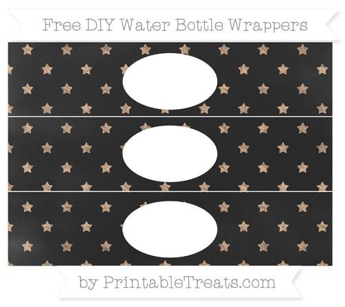 Free Pastel Orange Star Pattern Chalk Style DIY Water Bottle Wrappers