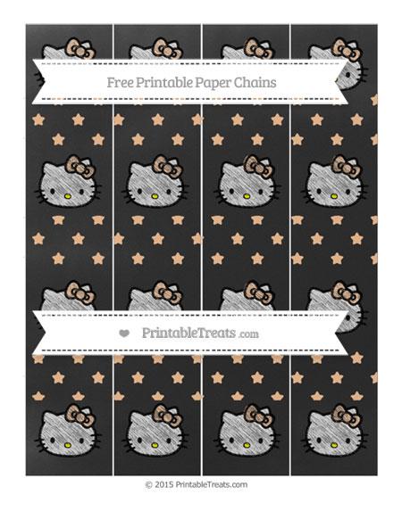 Free Pastel Orange Star Pattern Chalk Style Hello Kitty Paper Chains