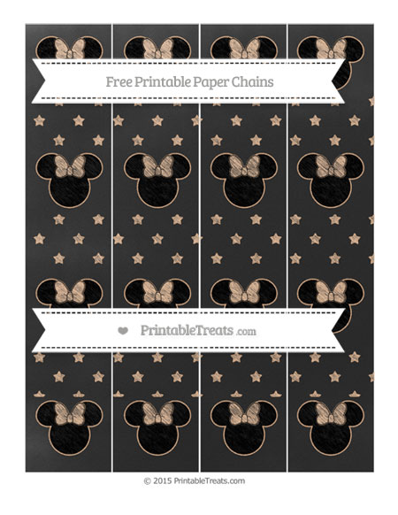 Free Pastel Orange Star Pattern Chalk Style Minnie Mouse Paper Chains