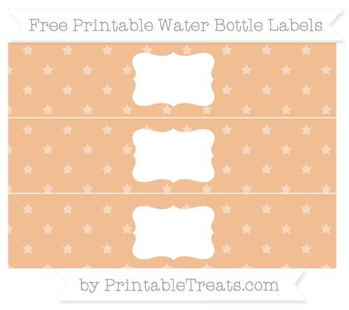 Free Pastel Orange Star Pattern Water Bottle Labels