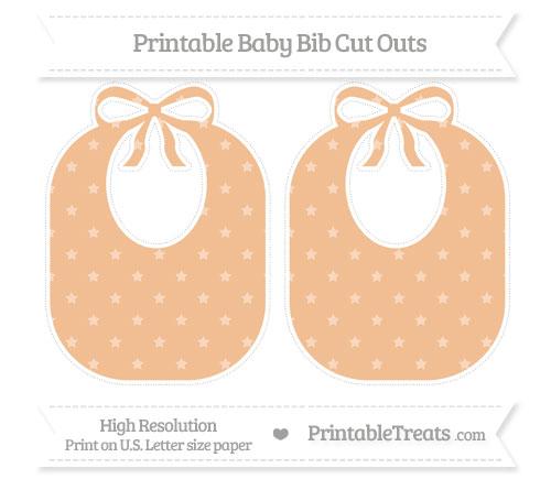 Free Pastel Orange Star Pattern Large Baby Bib Cut Outs