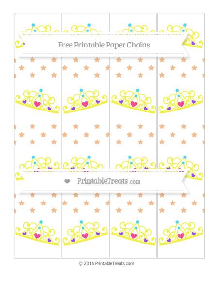 Free Pastel Orange Star Pattern Princess Tiara Paper Chains