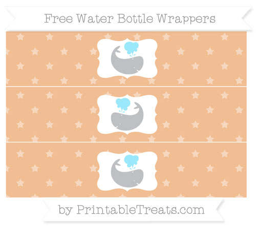 Free Pastel Orange Star Pattern Whale Water Bottle Wrappers