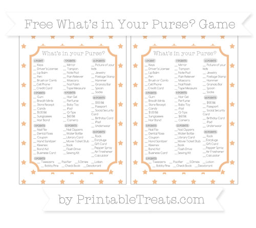 Free Pastel Orange Star Pattern What's in Your Purse Baby Shower Game