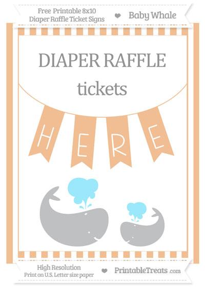 Free Pastel Orange Striped Baby Whale 8x10 Diaper Raffle Ticket Sign