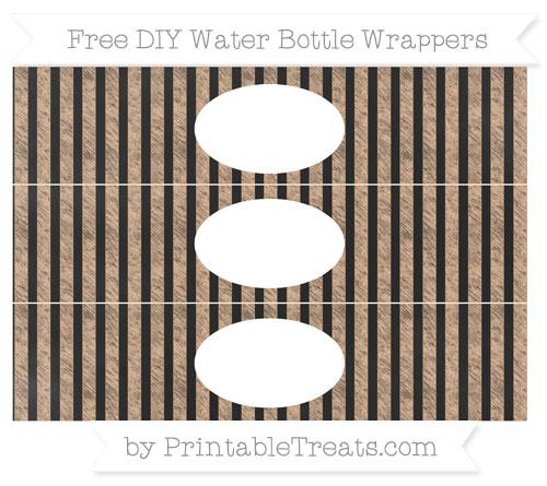 Free Pastel Orange Striped Chalk Style DIY Water Bottle Wrappers