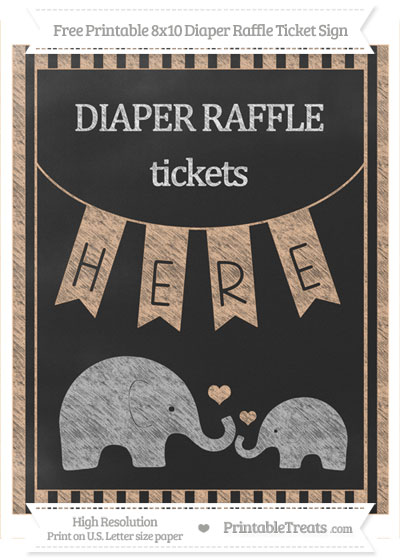 Free Pastel Orange Striped Chalk Style Elephant 8x10 Diaper Raffle Ticket Sign