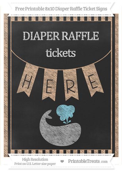 Free Pastel Orange Striped Chalk Style Whale 8x10 Diaper Raffle Ticket Sign