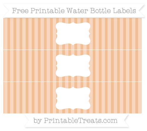Free Pastel Orange Striped Water Bottle Labels
