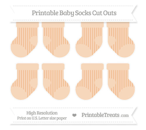 Free Pastel Orange Striped Small Baby Socks Cut Outs
