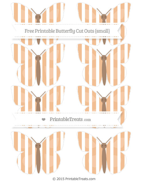 Free Pastel Orange Striped Small Butterfly Cut Outs