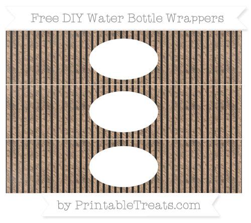 Free Pastel Orange Thin Striped Pattern Chalk Style DIY Water Bottle Wrappers