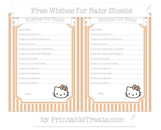 Free Pastel Orange Thin Striped Pattern Hello Kitty Wishes for Baby Sheets