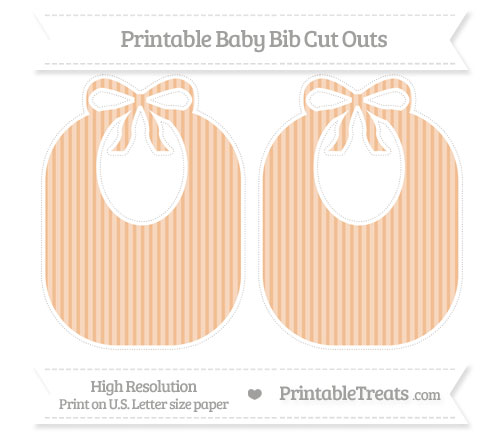 Free Pastel Orange Thin Striped Pattern Large Baby Bib Cut Outs