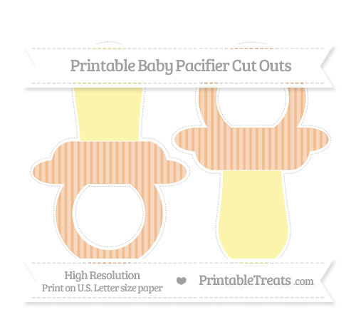 Free Pastel Orange Thin Striped Pattern Large Baby Pacifier Cut Outs