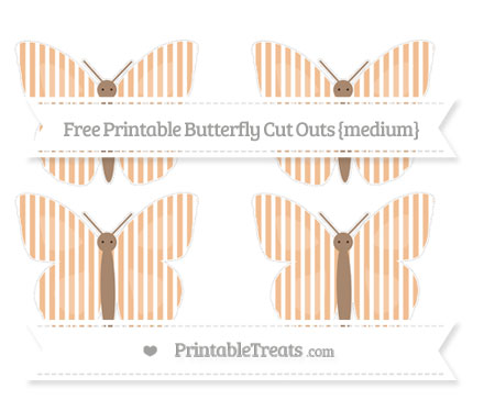 Free Pastel Orange Thin Striped Pattern Medium Butterfly Cut Outs