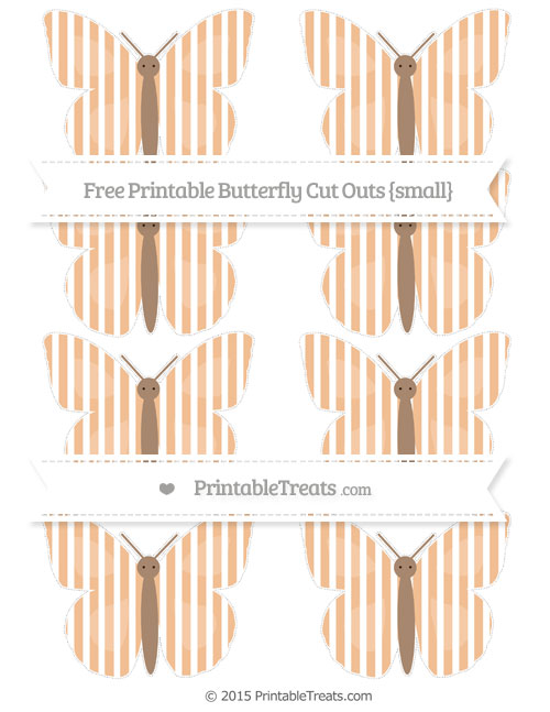 Free Pastel Orange Thin Striped Pattern Small Butterfly Cut Outs
