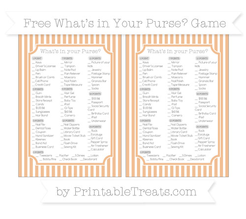 Free Pastel Orange Thin Striped Pattern What's in Your Purse Baby Shower Game
