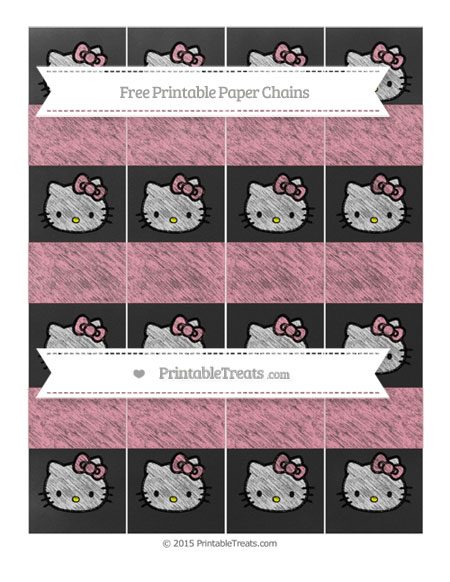 Free Pastel Pink Chalk Style Hello Kitty Paper Chains