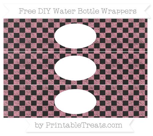 Free Pastel Pink Checker Pattern Chalk Style DIY Water Bottle Wrappers