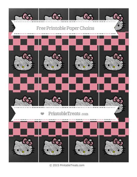 Free Pastel Pink Checker Pattern Chalk Style Hello Kitty Paper Chains