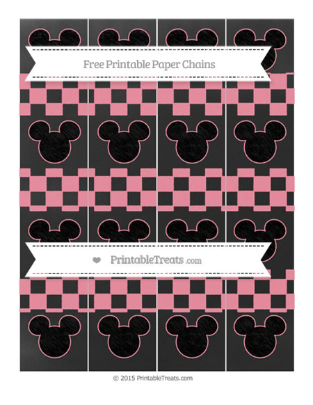 Free Pastel Pink Checker Pattern Chalk Style Mickey Mouse Paper Chains