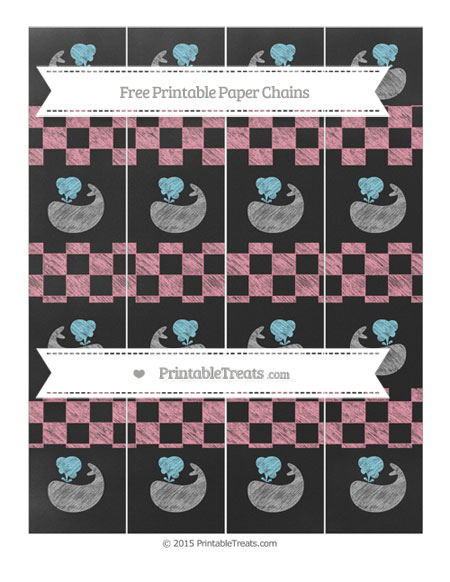 Free Pastel Pink Checker Pattern Chalk Style Whale Paper Chains