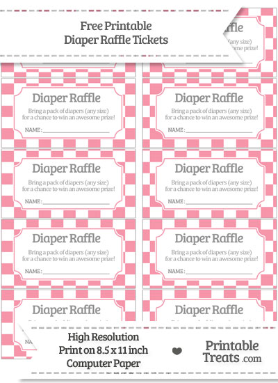 Free Pastel Pink Checker Pattern Diaper Raffle Tickets