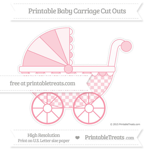 Free Pastel Pink Checker Pattern Extra Large Baby Carriage Cut Outs