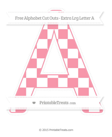 Free Pastel Pink Checker Pattern Extra Large Capital Letter A Cut Outs