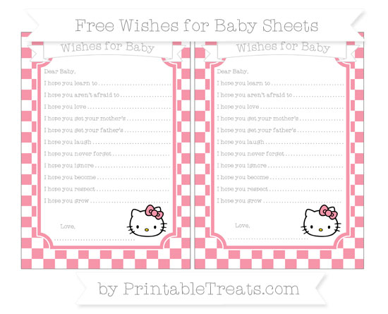Free Pastel Pink Checker Pattern Hello Kitty Wishes for Baby Sheets