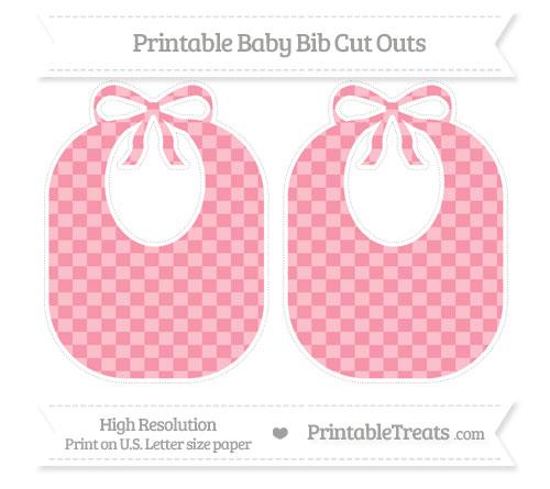 Free Pastel Pink Checker Pattern Large Baby Bib Cut Outs